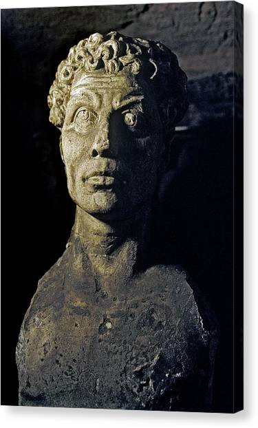 Hellenistic Art Canvas Print - Catacomb Memorial Bust by Patrick Landmann/science Photo Library