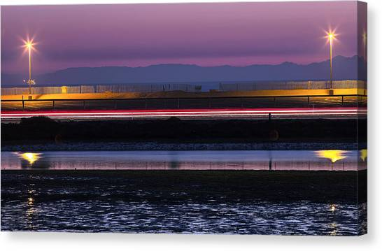 Catalina Bolsa Chica Pch Light Trails And The Wetlands By Denise Dube Canvas Print