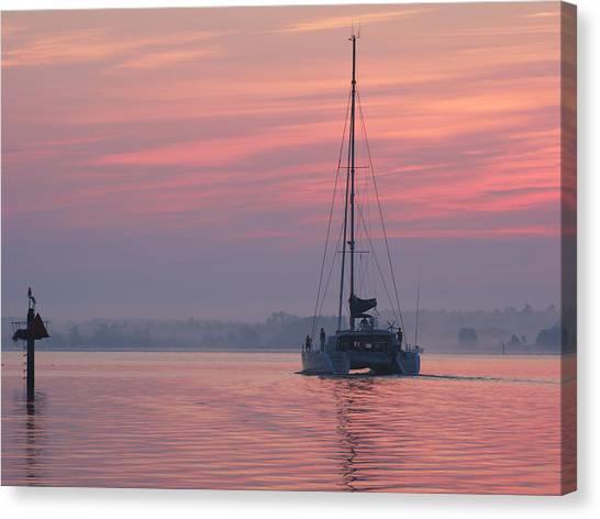 Catamaran At Dawn Canvas Print