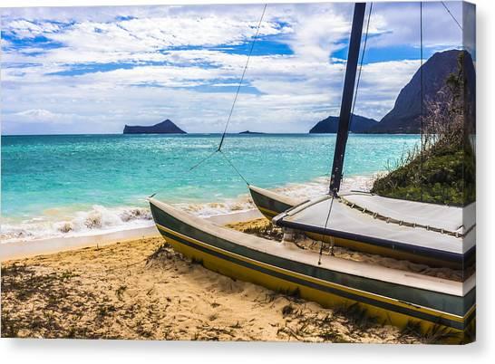 Catamaran On Waimanalo Beach Canvas Print