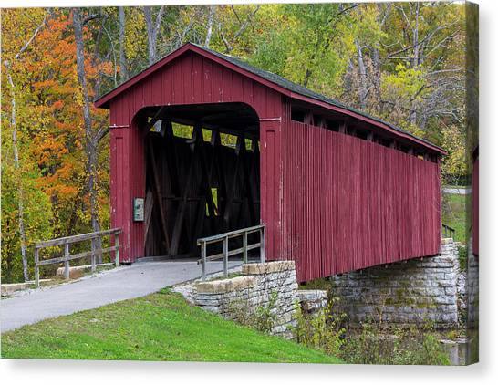 Indiana Autumn Canvas Print - Cataract Covered Bridge Over Mill Creek by Chuck Haney