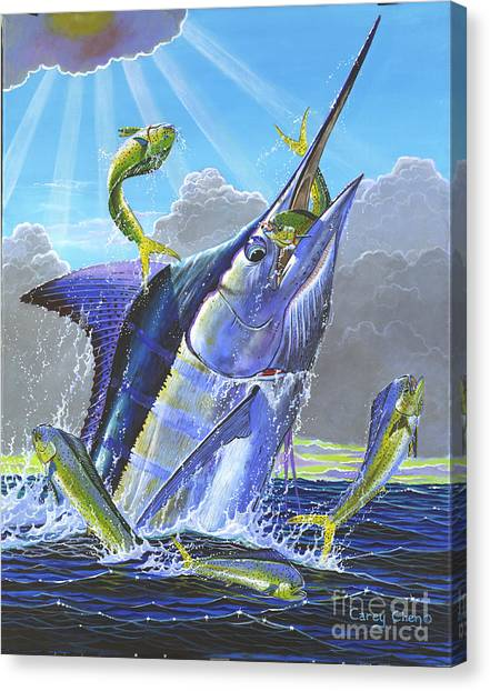 Spearfishing Canvas Print - Catch Em Up Off0029 by Carey Chen