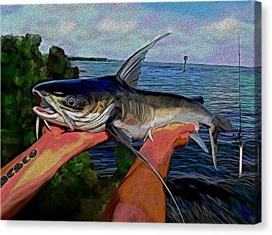 Catfish Canvas Print - Catch Of The Day by Karen Sheltrown