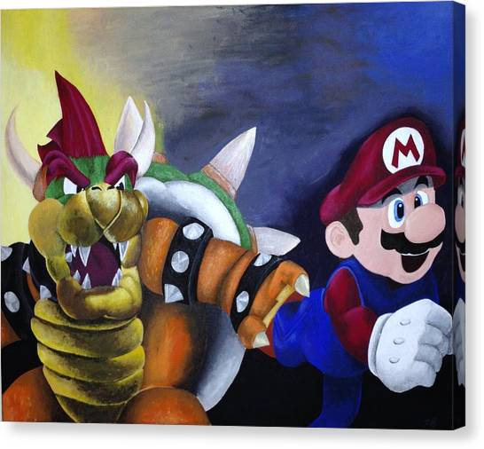 Super Mario Canvas Print - Catch The Plumber by Jamie Blackbourn