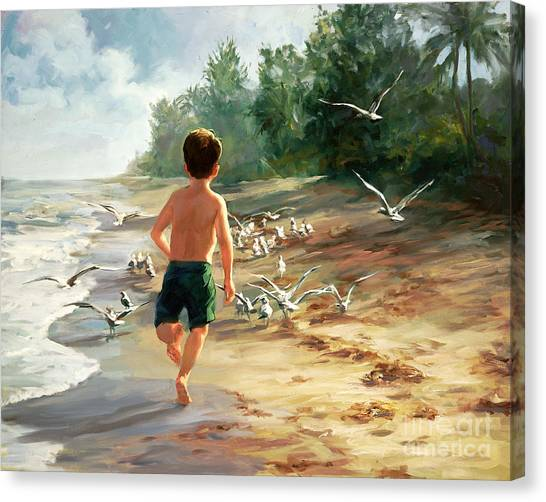 Children On Beach Canvas Print - Catch Them If You Can by Laurie Hein