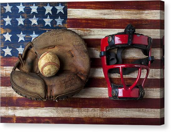 Catchers Canvas Print - Catchers Glove On American Flag by Garry Gay