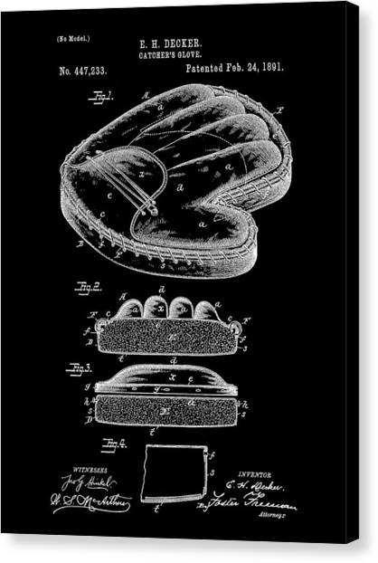 Fast Ball Canvas Print - Catcher's Glove Patent 1891 - Black by Stephen Younts