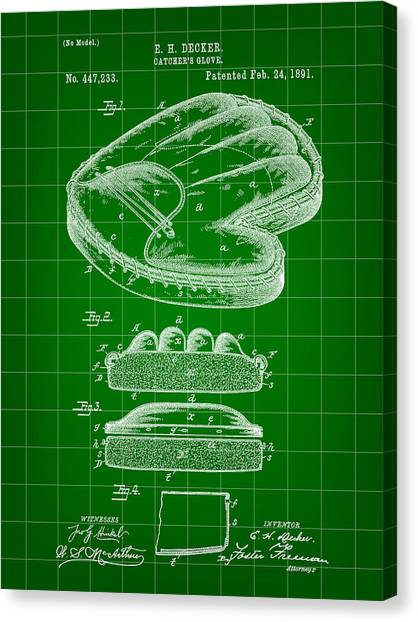 Fast Ball Canvas Print - Catcher's Glove Patent 1891 - Green by Stephen Younts