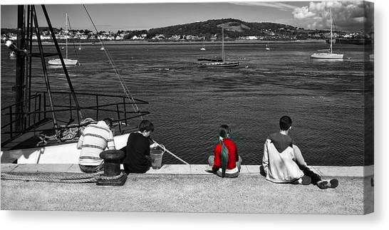 Crabbing Canvas Print - Catching Crabs In Red by Meirion Matthias