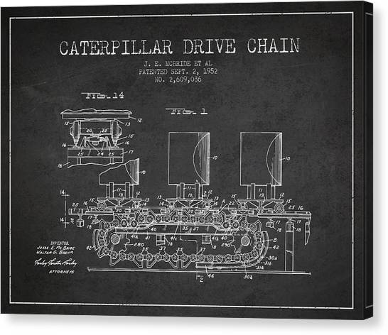 Caterpillars Canvas Print - Caterpillar Drive Chain Patent From 1952 by Aged Pixel