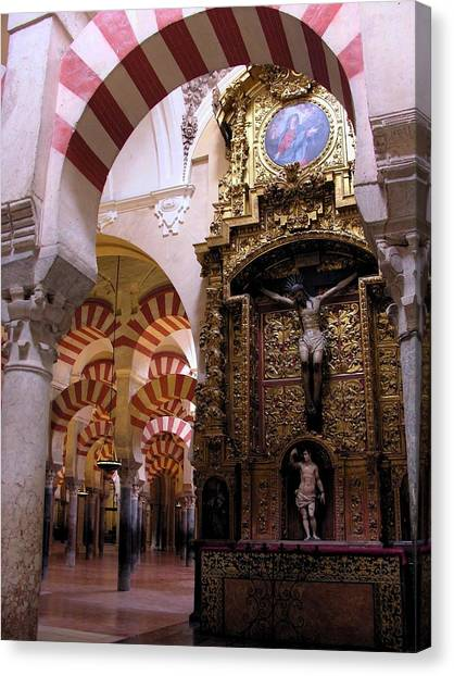 Cathedral In Mezquita Canvas Print by Jacqueline M Lewis