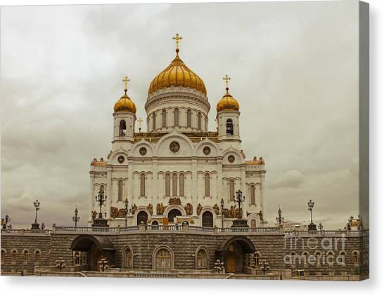 Moscow Canvas Print - Cathedral Of Christ The Saviour by Lars Ruecker