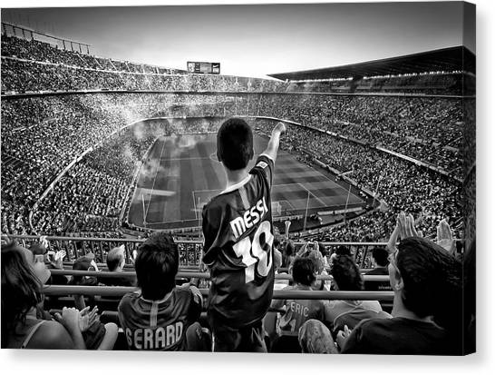 Lionel Messi Canvas Print - Cathedral Of Football by Clemens Geiger