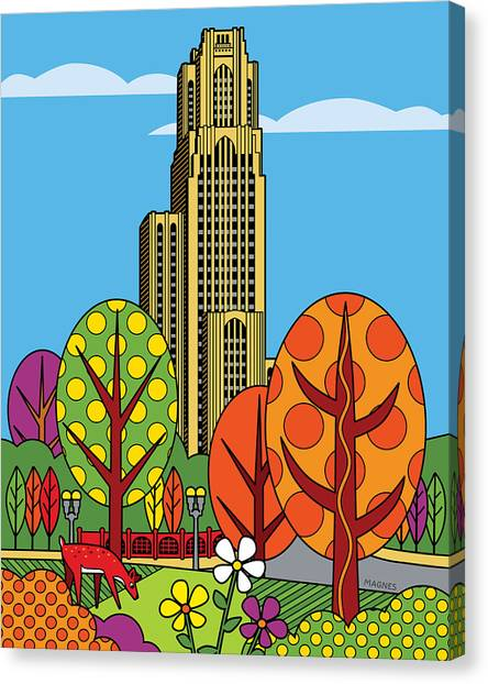Oakland University Canvas Print - Cathedral Of Learning by Ron Magnes