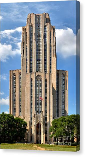 Oakland University Canvas Print - Cathedral Of Learning Vertical Panorama by Adam Jewell