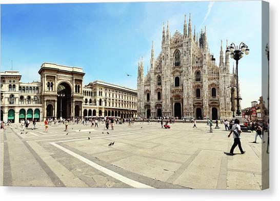 Cathedral Of Milan Galleria Vittorio Canvas Print by Paul Biris