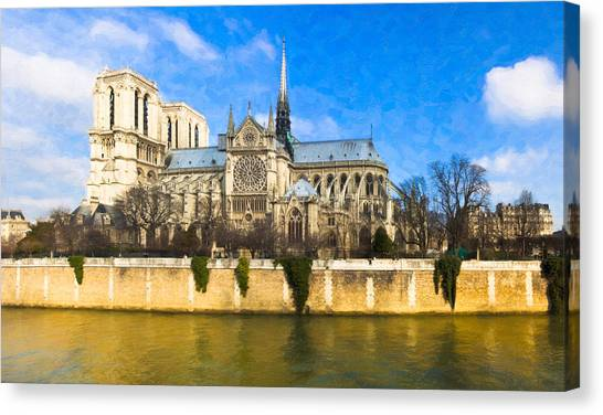Christian Canvas Print - Cathedral Of Notre Dame De Paris On The Seine by Mark E Tisdale