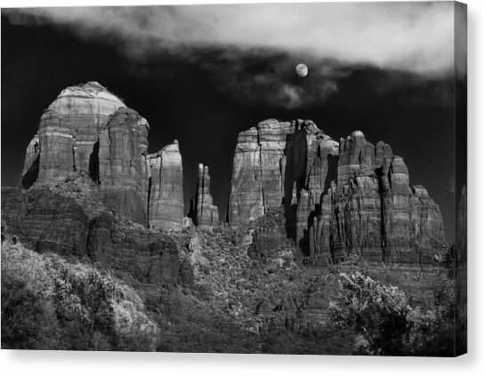 Cathedrals Canvas Print - Cathedral Rock Moon Rise by Dave Dilli