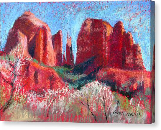 Cathedral Rock On Red Paper Canvas Print