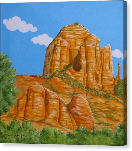 Cathedral Rock Sedona Az Left Canvas Print by Carol Sabo