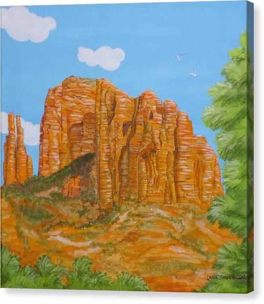 Cathedral Rock Sedona Az Right Canvas Print by Carol Sabo