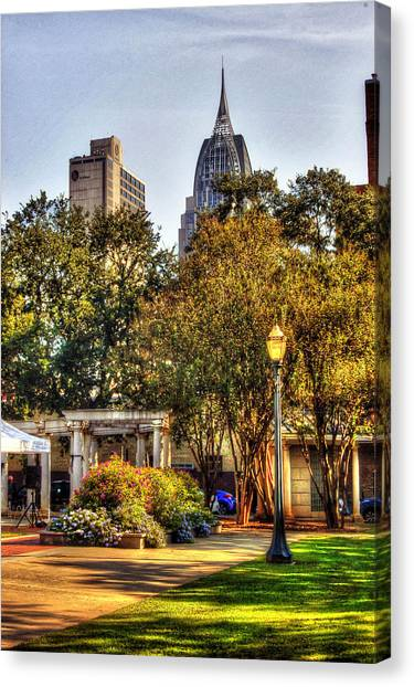 Canvas Print featuring the painting Cathedral Square And Rsa Building by Michael Thomas