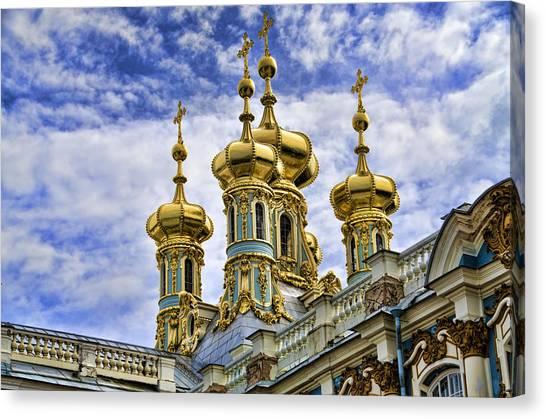 St John The Russian Canvas Print - Catherine Palace Cupolas - St Petersburg Russia by Jon Berghoff