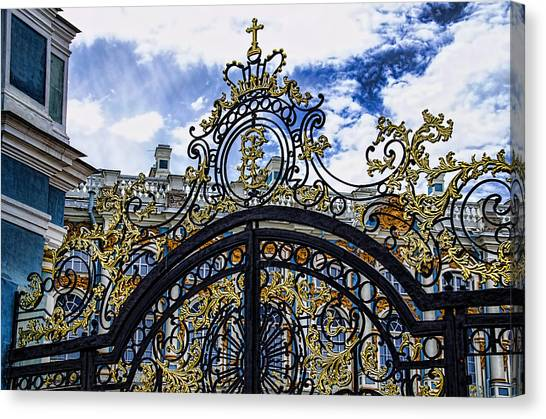 St John The Russian Canvas Print - Catherine Palace Entry Gate - St Petersburg Russia by Jon Berghoff