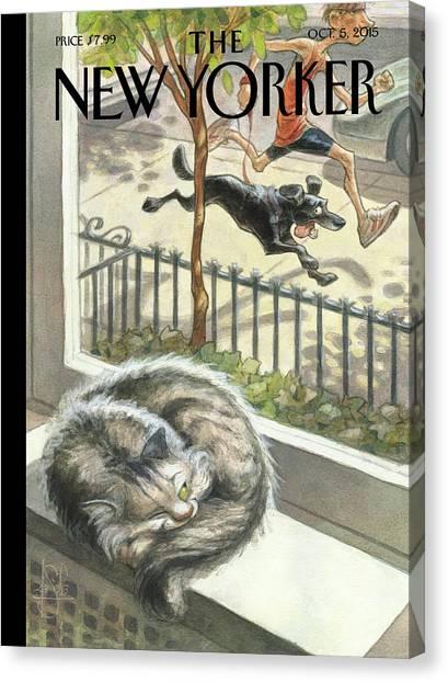Exercising Canvas Print - Catnap by Peter de Seve