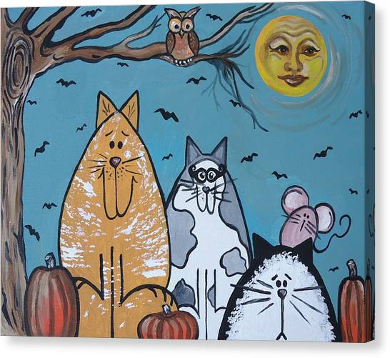 Cats And Harvest Moon Canvas Print