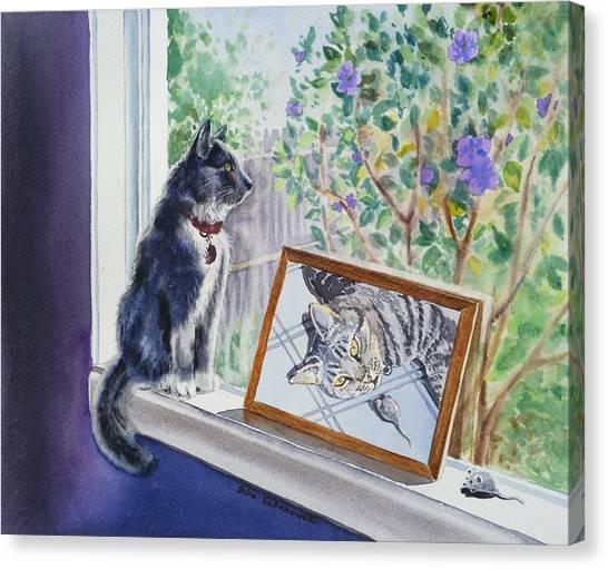 Morning Glory Canvas Print - Cats And Mice Sweet Memories by Irina Sztukowski