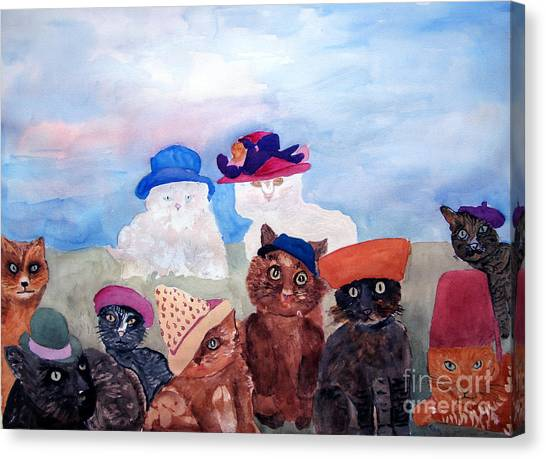 Cats In Hats Canvas Print