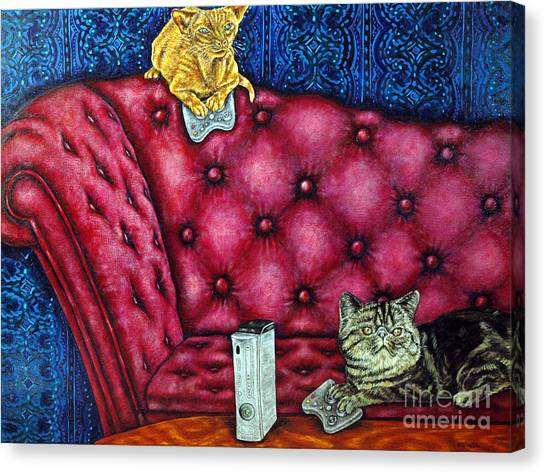 Cats Playing X Box Canvas Print by Jay  Schmetz