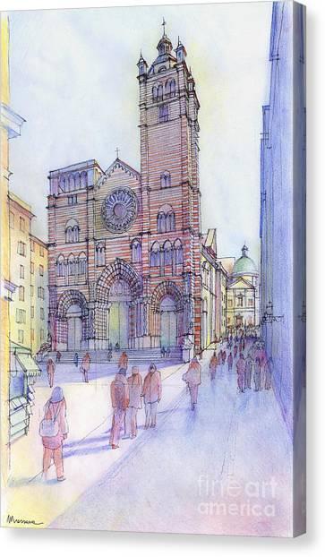 Cattedrale Di S. Lorenzo A Genova Canvas Print by Luca Massone