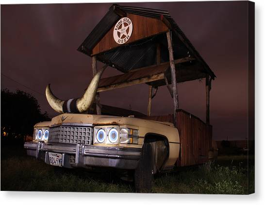 Chainsaw Canvas Print - Cattelacs Caddy by Andrew Nourse