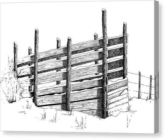 Cattle Chute Ink Canvas Print