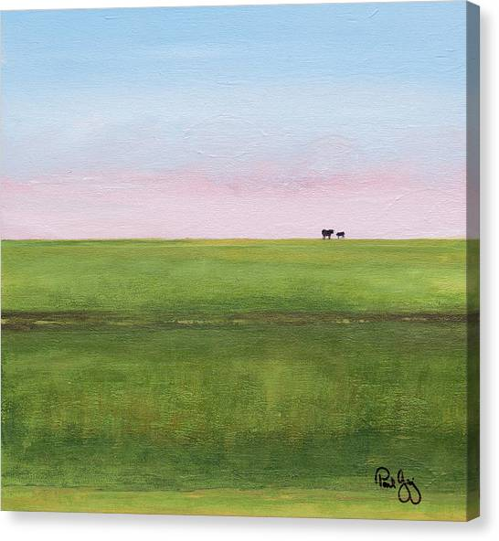 Cattle On The Levee Canvas Print