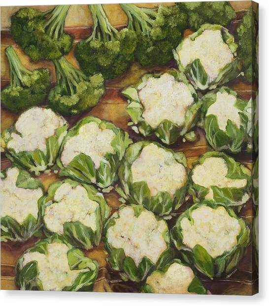 Broccoli Canvas Print - Cauliflower March by Jen Norton