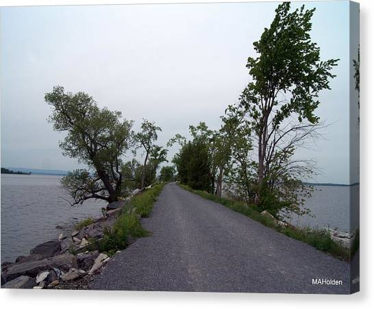 Causeway Between Mills Point And South Hero Vermont Canvas Print by Mark Holden