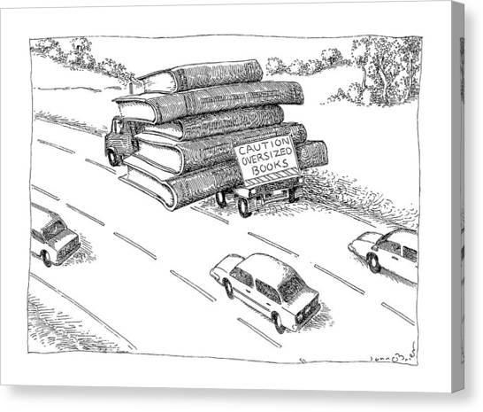 Oversized Canvas Print - Caution Oversized Books by John O'Brien