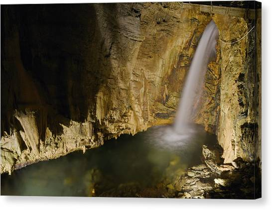 Limestone Caves Canvas Print - Cave Waterfall, Italy by Francesco Tomasinelli