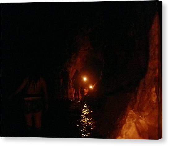 Caving With Candles And Cutoffs Canvas Print