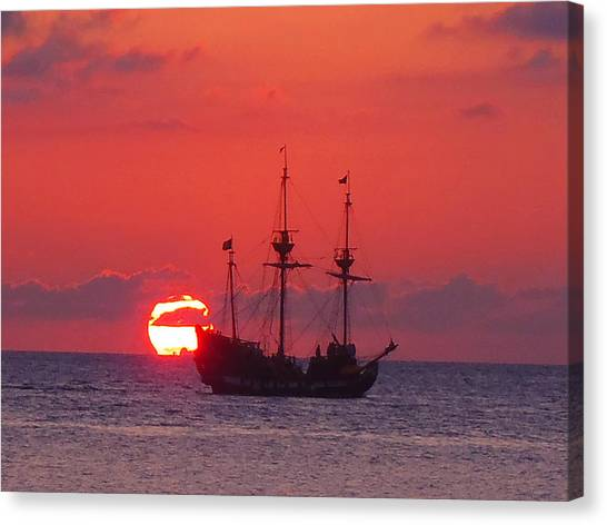 Cruise Ships Canvas Print - Cayman Sunset by Carey Chen
