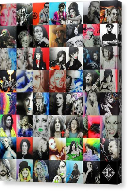 Rihanna Canvas Print - Ccart Mosaic - Series II by Christian Chapman Art