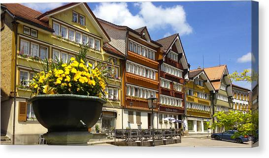 Ccolourful Traditional Appenzeller Homes Urnaesch Canton Appenzell Outer Rhodes Switzerland Canvas Print by PIXELS  XPOSED Ralph A Ledergerber Photography