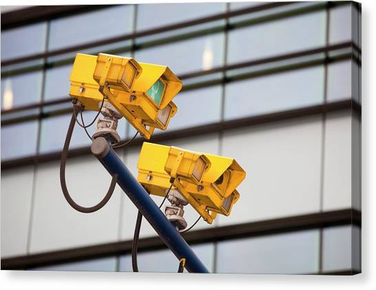 Big Brother Canvas Print - Cctv Cameras For Monitoring Traffic by Ashley Cooper