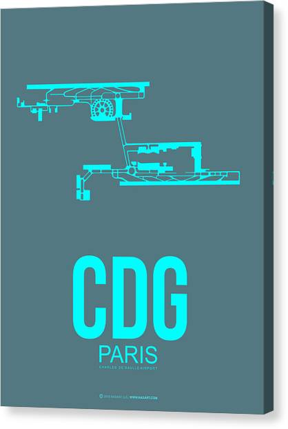 Eiffel Tower Canvas Print - Cdg Paris Airport Poster 1 by Naxart Studio