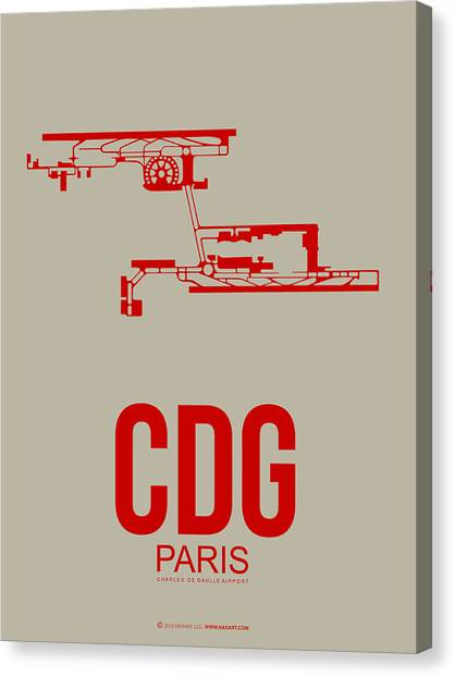French Canvas Print - Cdg Paris Airport Poster 2 by Naxart Studio