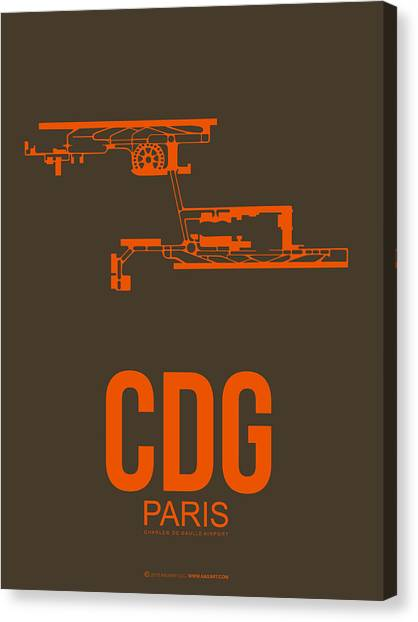 French Canvas Print - Cdg Paris Airport Poster 3 by Naxart Studio