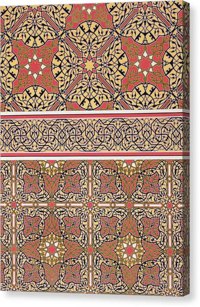 Tile Canvas Print - Ceiling Arabesques From The Mosque Of El-bordeyny by Emile Prisse d Avennes